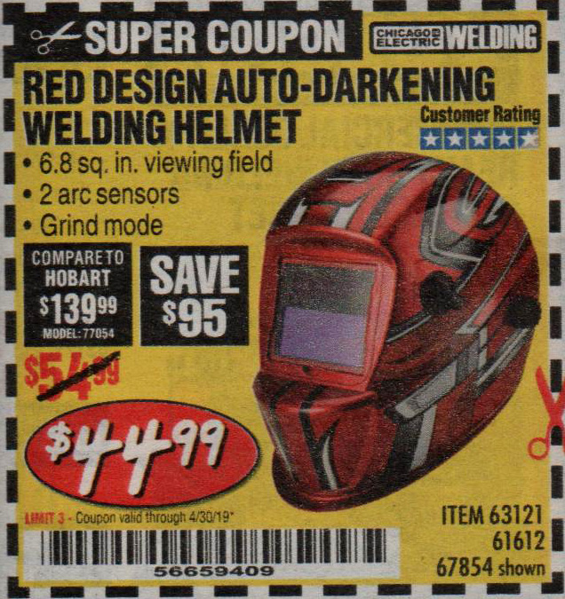 Harbor Freight Coupons, HF Coupons, 20% off - Red Design Auto-darkening Welding Helmet