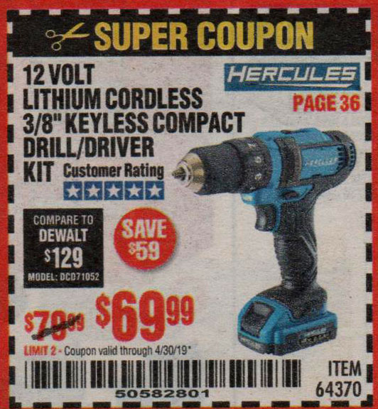 Harbor Freight Coupons, HF Coupons, 20% off - Hercules 12 Volt Lithium Cordless 3/8