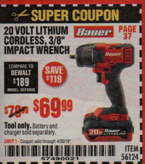 Harbor Freight Coupons, HF Coupons, 20% off - 56124