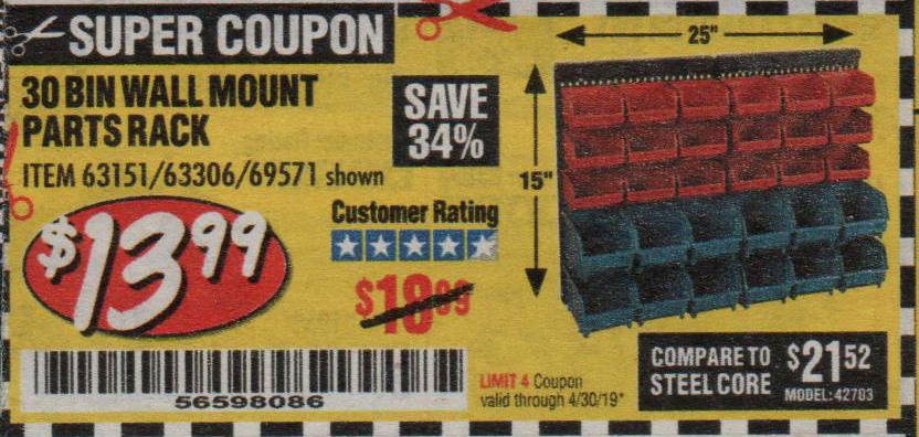 Harbor Freight Coupons, HF Coupons, 20% off - 30 Bin Wall Mount Parts Rack