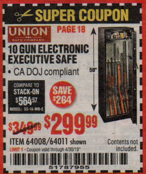 Harbor Freight Coupons, HF Coupons, 20% off - 10 Gun Electronic Security Safe