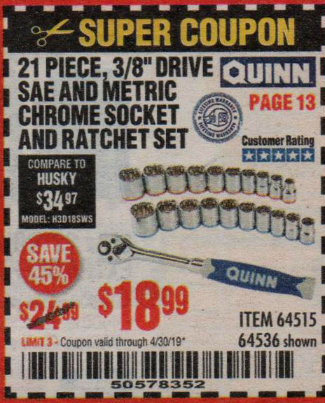 Harbor Freight Coupons, HF Coupons, 20% off - Quinn 21 Piece, 3/8
