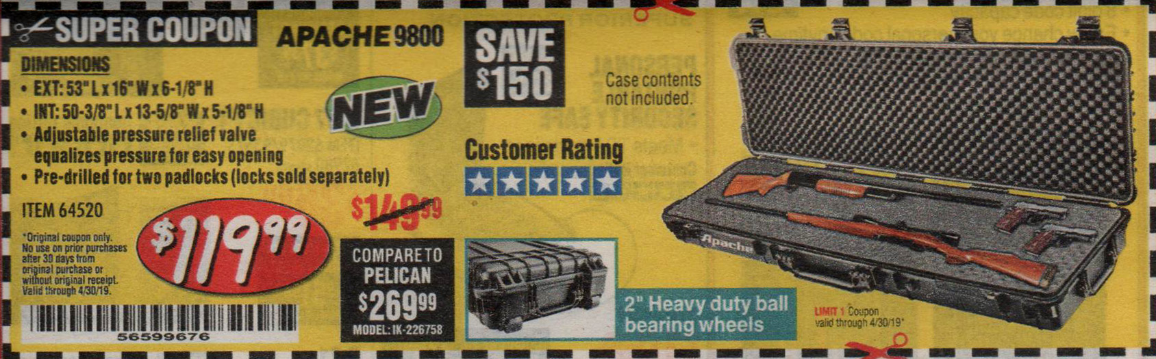 Harbor Freight Coupons, HF Coupons, 20% off - Apache 9800 Weatherproof 13-1/2