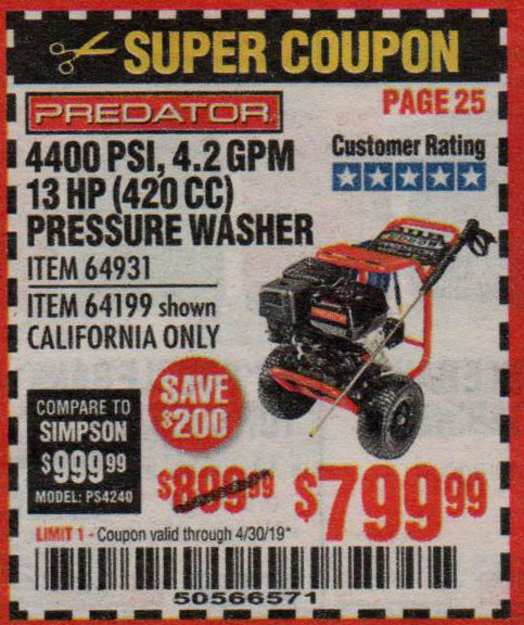 Harbor Freight Coupons, HF Coupons, 20% off - 4400 Psi, 4.2 Gpm, 13 Hp (420 Cc) Pressure Washer
