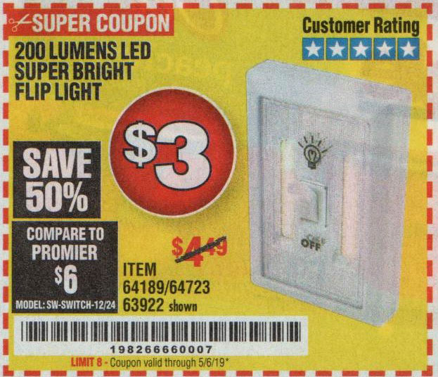 Harbor Freight Coupons, HF Coupons, 20% off - Led Super Bright Flip Light