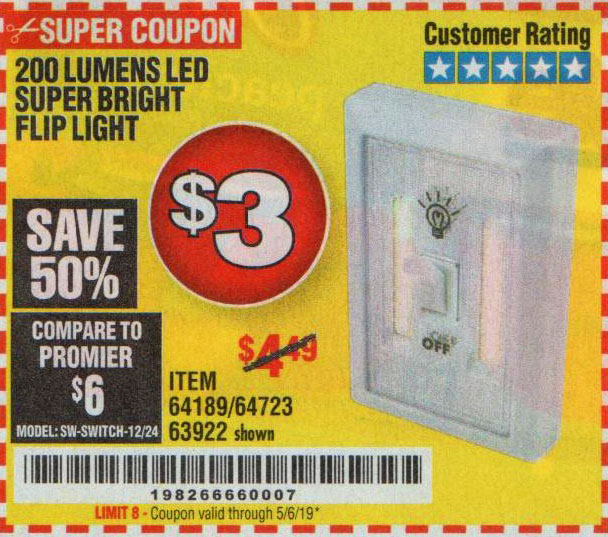 Harbor Freight Coupons, HF Coupons, 20% off - 200 Lumens Led Super Bright Flip Light