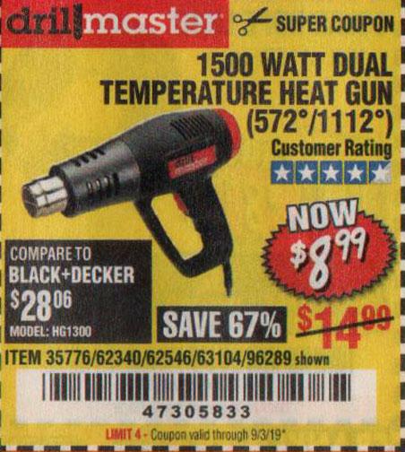 Harbor Freight Tools Coupons, Harbor Freight Coupon, HF Coupons-1500 Watt Dual Temperature Heat Gun (572/1112)