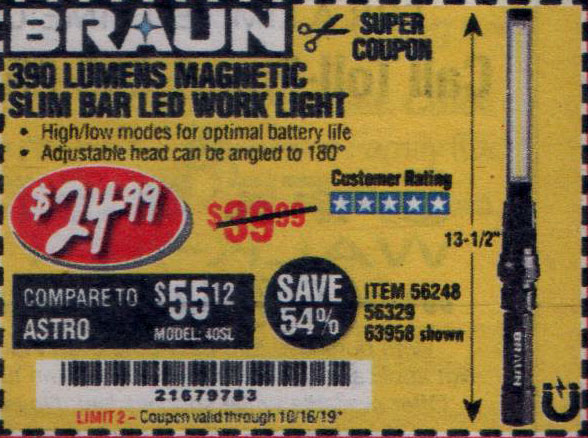 Harbor Freight Tools Coupons, Harbor Freight Coupon, HF Coupons-Braun 390 Lumen Slim Bar Folding Led Worklight