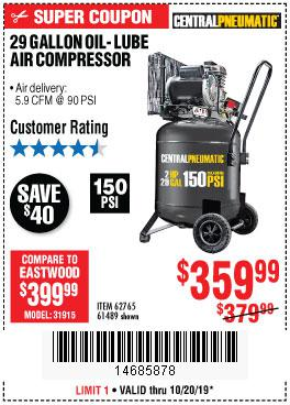 Harbor Freight Tools Coupons, Harbor Freight Coupon, HF Coupons-2 Hp, 29 Gallon 150 Psi Cast Iron Vertical Air Compressor