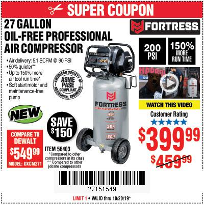 Harbor Freight Tools Coupons, Harbor Freight Coupon, HF Coupons-Fortress 27 Gallon Oil-free Professional Air Compressor