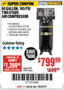 Harbor Freight Tools Coupons, Harbor Freight Coupon, HF Coupons-5 Hp, 60 Gallon 165 Psi Air Compressor