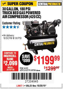 Harbor Freight Tools Coupons, Harbor Freight Coupon, HF Coupons-14 Hp, 30 Gallon, 180 Psi Truck Bed Gas Powered Air Compressor (420 Cc)