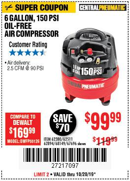 Harbor Freight Tools Coupons, Harbor Freight Coupon, HF Coupons-1.5 Hp, 6 Gallon, 150 Psi Professional Air Compressor