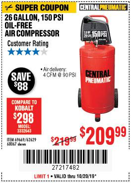 Harbor Freight Tools Coupons, Harbor Freight Coupon, HF Coupons-1.8 Hp, 26 Gallon, 150 Psi Oilless Air Compressor