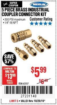 Harbor Freight Tools Coupons, Harbor Freight Coupon, HF Coupons-5 Piece Brass Industrial Coupler Connector Kit