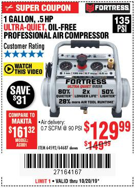 Harbor Freight Tools Coupons, Harbor Freight Coupon, HF Coupons-Fortress 1 Gallon, .5hp, 135 Psi Oil Free Portable Air Compressor