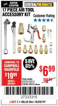 Harbor Freight Tools Coupons, Harbor Freight Coupon, HF Coupons-17 Piece Air Tool Accessory Kit