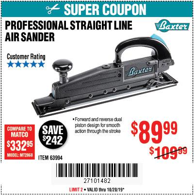 Harbor Freight Tools Coupons, Harbor Freight Coupon, HF Coupons-Baxter Straight Line Air Sander