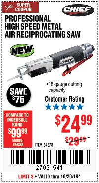 Harbor Freight Tools Coupons, Harbor Freight Coupon, HF Coupons-Professional High Speed Metal Air Reciprocating Saw