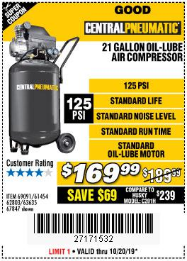 Harbor Freight Tools Coupons, Harbor Freight Coupon, HF Coupons-2.5 Hp, 21 Gallon 125 Psi Vertical Air Compressor