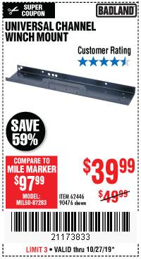 Harbor Freight Tools Coupons, Harbor Freight Coupon, HF Coupons-Universal Channel Winch Mount