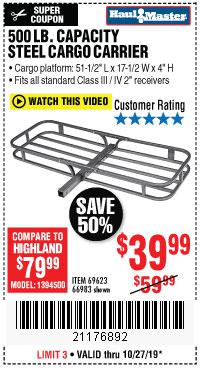 Harbor Freight Tools Coupons, Harbor Freight Coupon, HF Coupons-500 Lb. Capacity Deluxe Steel Cargo Carrier