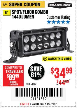 Harbor Freight Tools Coupons, Harbor Freight Coupon, HF Coupons-1440 Lumens 8 In. Combo Light Bar
