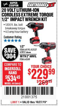 Harbor Freight Tools Coupons, Harbor Freight Coupon, HF Coupons-20 Volt Lithium Cordless Extreme Torque Impact Wrench Kits
