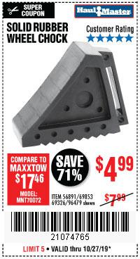 Harbor Freight Tools Coupons, Harbor Freight Coupon, HF Coupons-Solid Rubber Wheel Chock