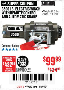 Harbor Freight Tools Coupons, Harbor Freight Coupon, HF Coupons-3500 Lb. Electric Winch With Remote Control And Automatic Brake