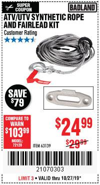 Harbor Freight Tools Coupons, Harbor Freight Coupon, HF Coupons-Atv/utv Synthetic Rope And Fairlead Kit