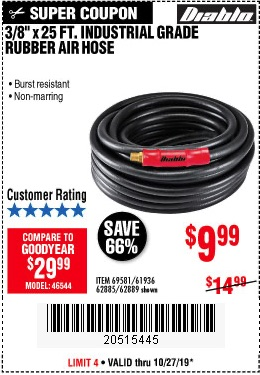 Harbor Freight Tools Coupons, Harbor Freight Coupon, HF Coupons-Diablo 3/8 In. X 25 Ft. Premium Rubber Air Hose