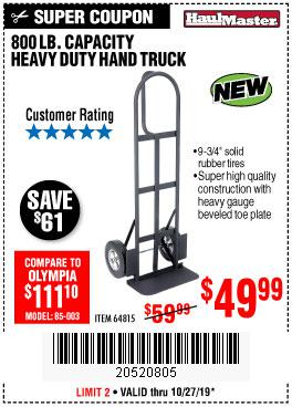 Harbor Freight Tools Coupons, Harbor Freight Coupon, HF Coupons-800 Lb. Capacity Big Foot Hand Truck