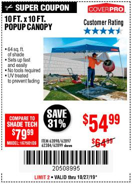 Harbor Freight Tools Coupons, Harbor Freight Coupon, HF Coupons-Coverpro 10 Ft. X 10 Ft. Popup Canopy