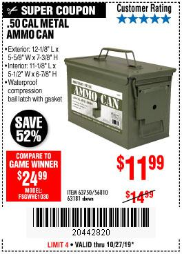 Harbor Freight Tools Coupons, Harbor Freight Coupon, HF Coupons-.50 Cal Metal Ammo Can