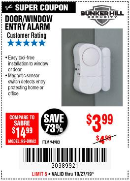 Harbor Freight Tools Coupons, Harbor Freight Coupon, HF Coupons-Door/window Entry Alarm