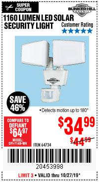 Harbor Freight Tools Coupons, Harbor Freight Coupon, HF Coupons-1160 Lumens Solar Led Security Light