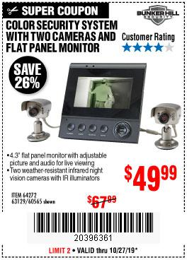 Harbor Freight Tools Coupons, Harbor Freight Coupon, HF Coupons-Color Security System With 2 Cameras And Flat Panel Monitor