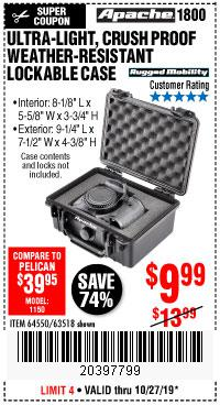 Harbor Freight Tools Coupons, Harbor Freight Coupon, HF Coupons-Apache 1800 Weatherproof Protective Case
