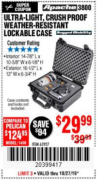 Harbor Freight Tools Coupons, Harbor Freight Coupon, HF Coupons-Apache 3800 Weatherproof Protective Case