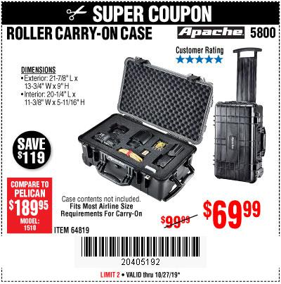 Harbor Freight Tools Coupons, Harbor Freight Coupon, HF Coupons-Apache 5800 Roller Carry On Case