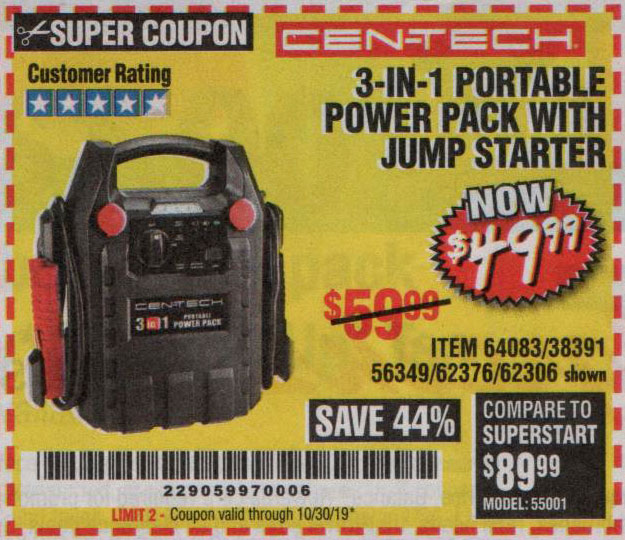 Harbor Freight Tools Coupons, Harbor Freight Coupon, HF Coupons-3 In 1 Portable Power Pack