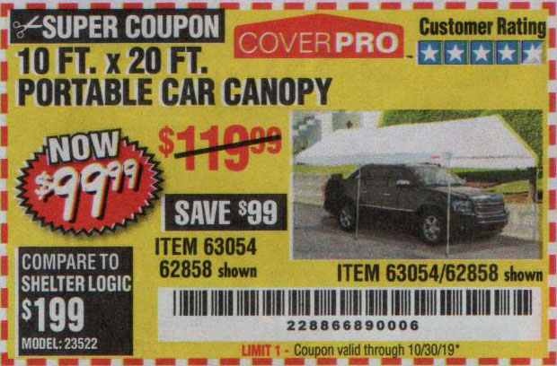 Harbor Freight Tools Coupons, Harbor Freight Coupon, HF Coupons-10 Ft X 20 Ft Car Canopy