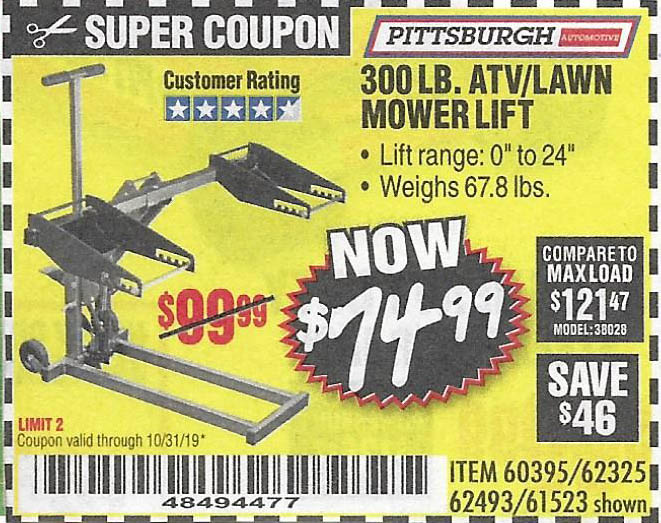 Harbor Freight Tools Coupons, Harbor Freight Coupon, HF Coupons-Atv/lawn Mower Lift