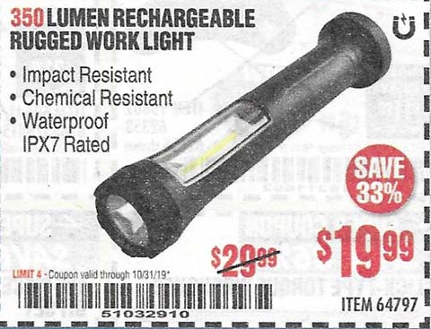 Harbor Freight Tools Coupons, Harbor Freight Coupon, HF Coupons-350 Lumen Rechargeable Rugged Work Light