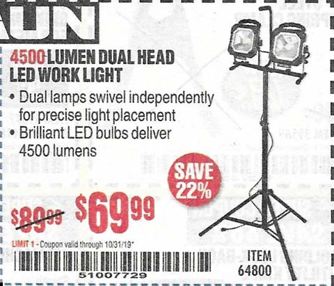 Harbor Freight Tools Coupons, Harbor Freight Coupon, HF Coupons-4500 Lumen Dual Head Led Work Light