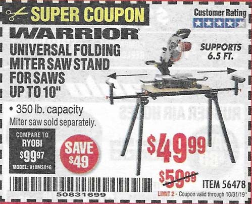 Harbor Freight Tools Coupons, Harbor Freight Coupon, HF Coupons-Warrior Universal Folding Miter Saw Stand For Saws Put O 10