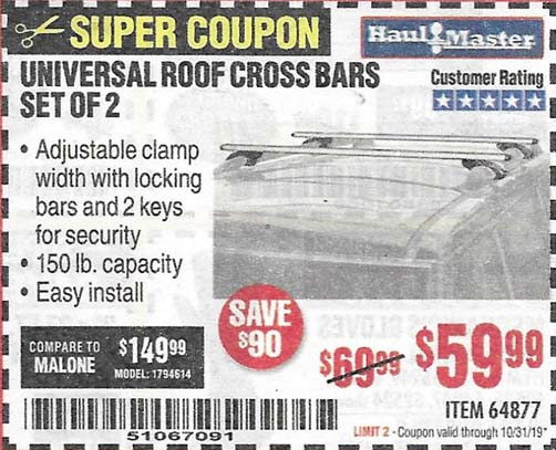 Harbor Freight Tools Coupons, Harbor Freight Coupon, HF Coupons-Universal Roof Cross Bars Set Of 2