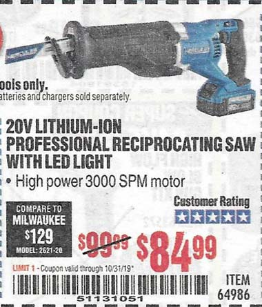 Harbor Freight Tools Coupons, Harbor Freight Coupon, HF Coupons-Hercules 20v Professional Lithium Ion Cordless Reciprocating Saw