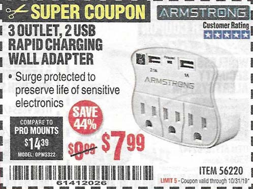 Harbor Freight Tools Coupons, Harbor Freight Coupon, HF Coupons-3 Outlet 2 Usb Wall Adapter